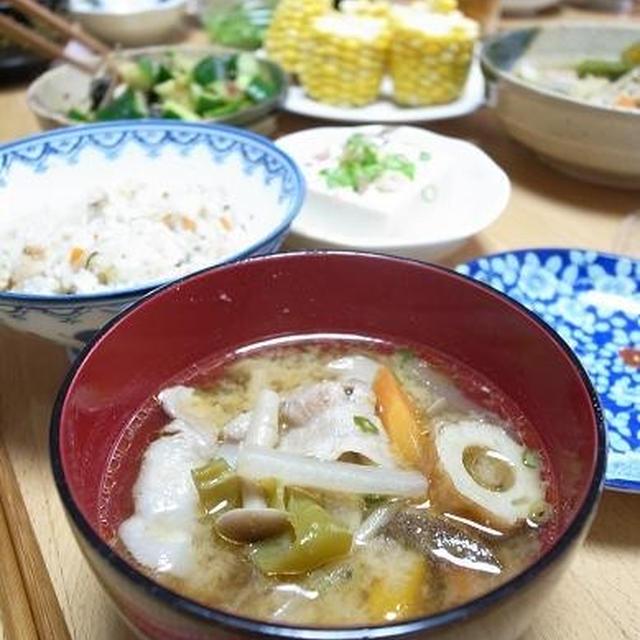 京都の実家で豚汁な朝食|お家で花火と大きくなったポメラニアン