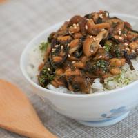 簡単!栄養満点!【朝ごはん】『納豆となめこのねばねば丼』