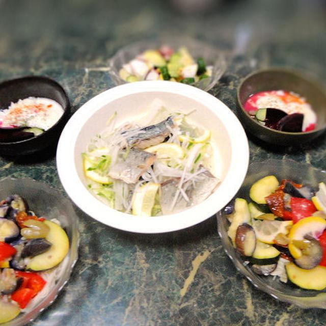 7月24日★今日も爽やか野菜とお魚の献立★今日は大変。半日断水だけど頑張ったヨ全4品+1