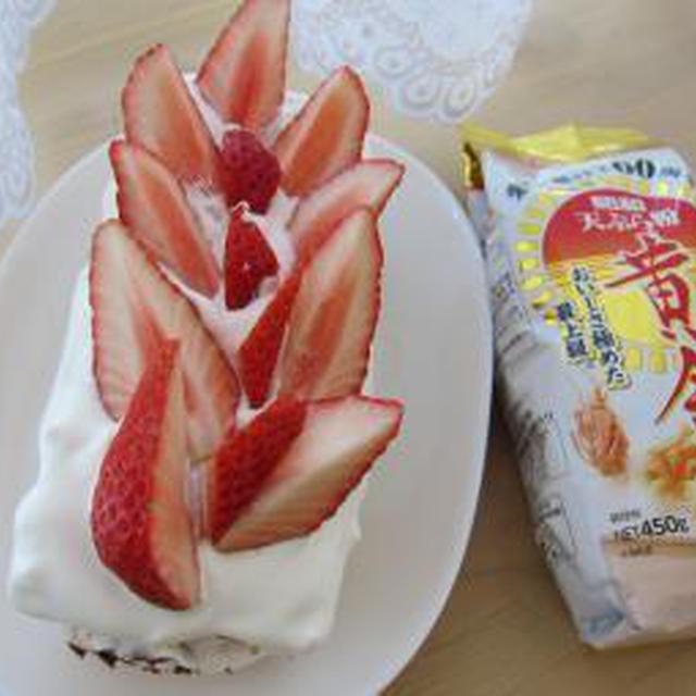 天ぷら粉でスポンジケーキを焼いて、いちごのショートケーキ♪