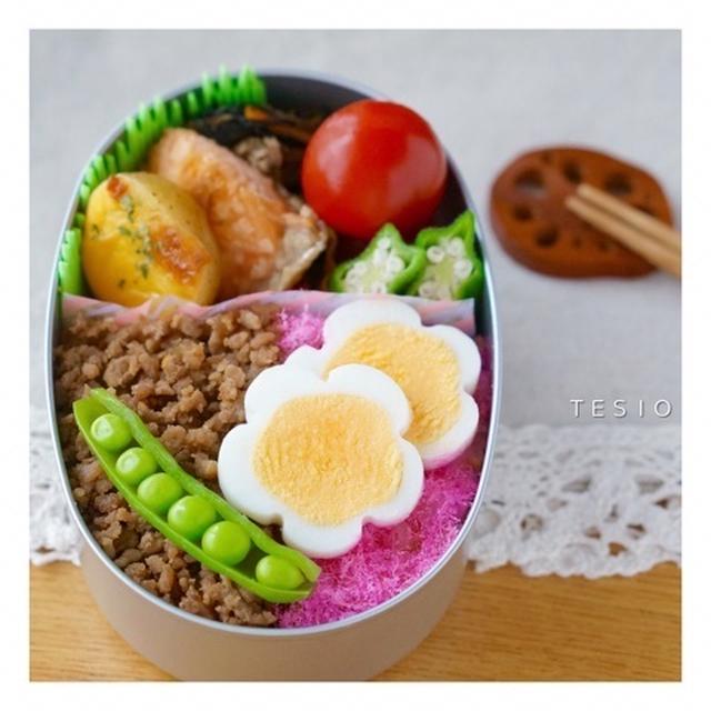 ゆで卵のお花のっけ♪肉そぼろ弁当