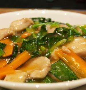 鶏肉と小松菜のトロトロあんかけ炒め
