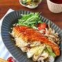 簡単のっけ丼♪鮭と葱のカフェ風照り焼きどんぶり♪