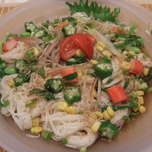 食欲のない時に、サラダ素麺やしし唐辛子の佃煮はいかが~♪