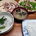 しらす丼とイカ刺し、ゲソ炒めなどの晩ご飯