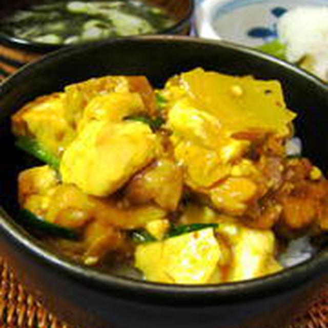 鶏と豆腐のカレーあんかけDON