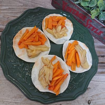 トースターで簡単餃子の皮とは思えない柿とバナナのパイ風デザート(4分)