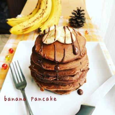 ふんわり♡しっとり♡バナナが甘い!バナナココアパンケーキ♡