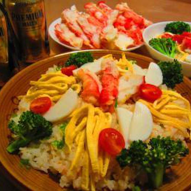 贅沢たらば蟹のちらし寿司♪ザ・プレミアム・モルツと一緒に~♪