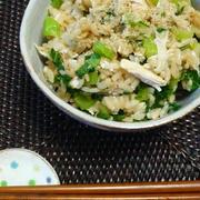 鶏と小松菜の炊き込みご飯。