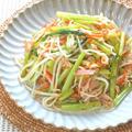 簡単&節約、野菜もりもり!もやしと青菜とハムのスパイス炒め。