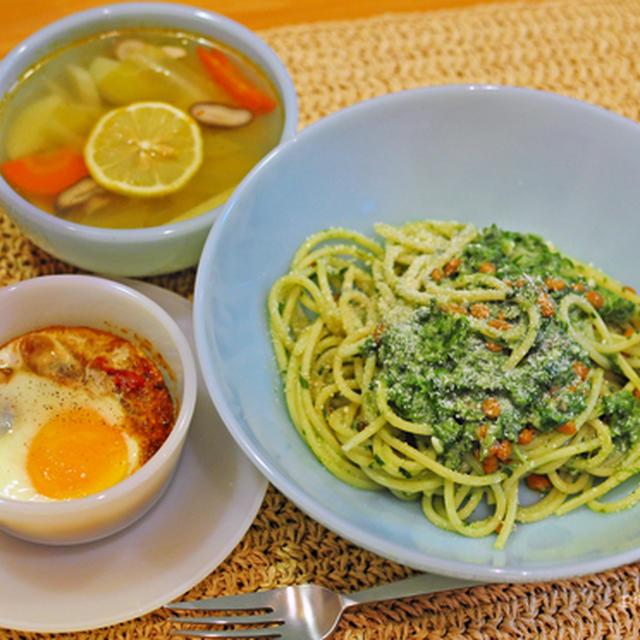 3月5日 火曜日 おべんとなし。春菊と納豆の豆乳スパゲティ