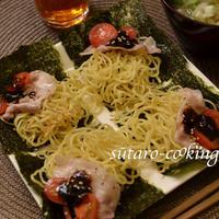 4種のペパーミックスと海苔の佃煮で作る、焼きそば海苔サンド