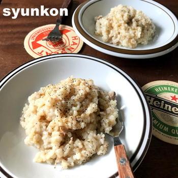 お勧め!【包丁、電気不要!】生米を洗わずに調理できます*ツナの鶏ガラ醤油リゾット