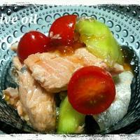 レシピ☆鮭と茄子 のっけてジュレぽん酢和え