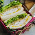 2日目、ボリュームオムレツとしっとり鶏ハムのサンド|作り置き+卵|1週間分のお弁当サンドイッチアイディア