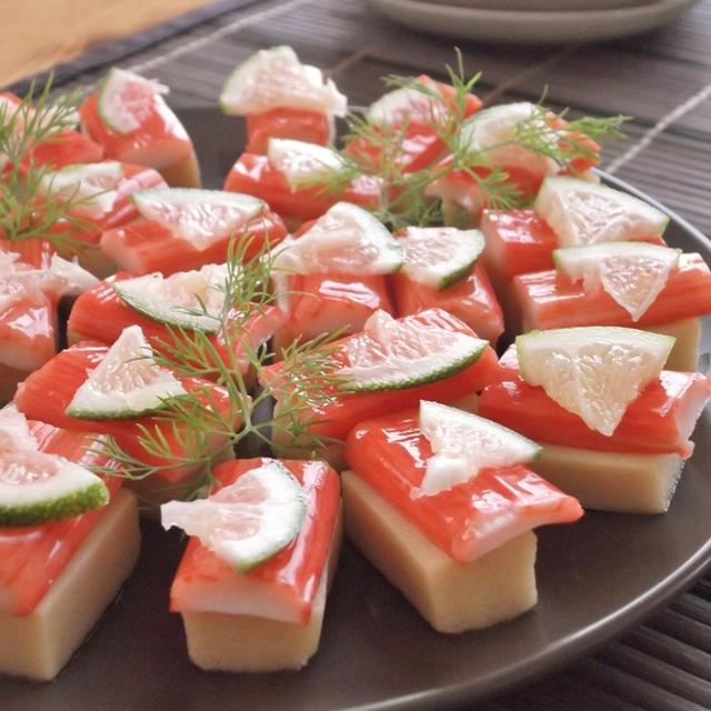 高野豆腐とカニカマの一口寿司風