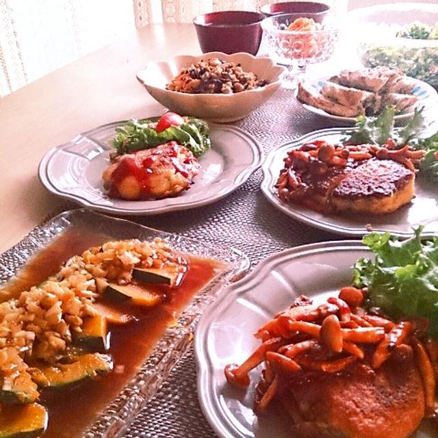 ハンバーグピカタとレンジでネギソースの晩ごはん。