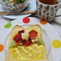 ハニーマヨトースト【花籠トースト】こんばんは 今日の朝ごはん花型抜きで抜いた、バナ...