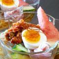 韓国冷麺と冷やし担々麺。