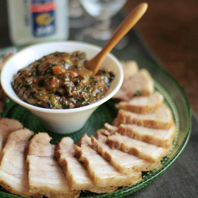 茹で豚・スイチリ韮味噌。