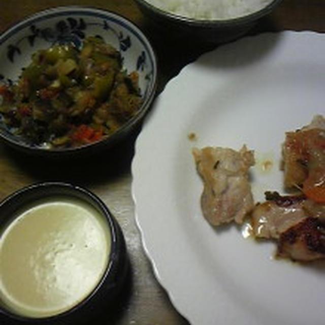 梅干しで地養鶏のサルミ、ラタトィユ、コーンスープ