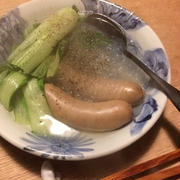 ソーセージと青梗菜のスープ