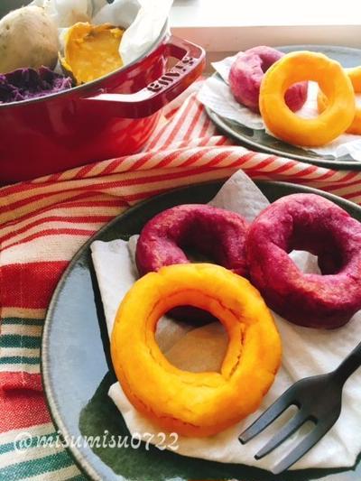 紫芋と安納芋でお砂糖なしの米粉ドーナツ
