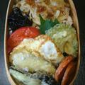 煮豚と天ぷら弁当とカワハギ煮つけ