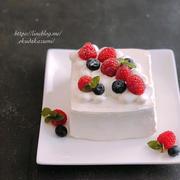 長男15歳の誕生日ケーキはスクエアショートケーキ*忍び込んだ次男