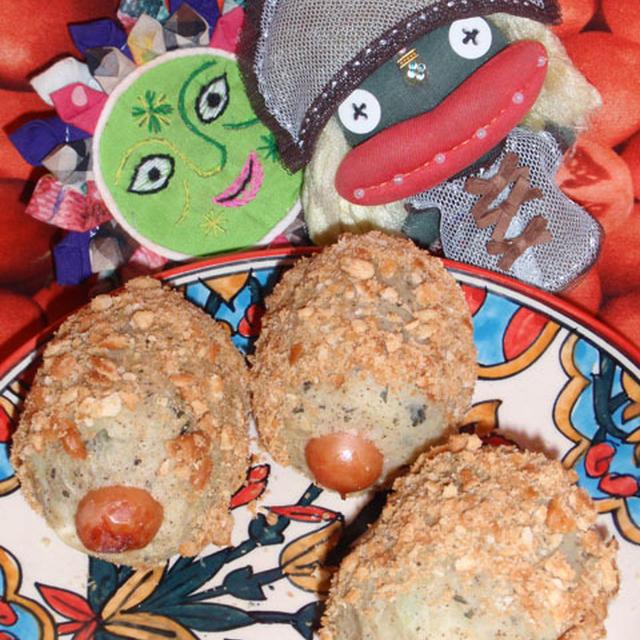 (油で揚げない)ソーセージinポテトコロッケ&大根とハムのレモジャンサラダ(お家カフェ)