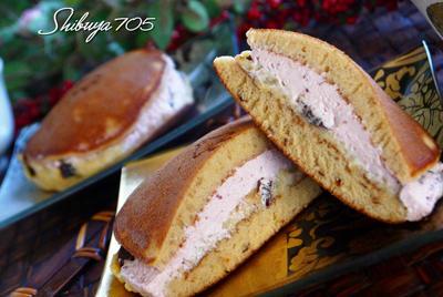 ☆どら焼き風ブルーンパンケーキ~ラムプルーンカスタード&ラズベリークリーム~☆
