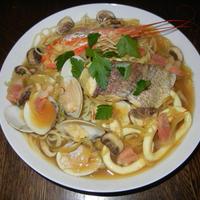 海の幸のサフランスープスパゲティー