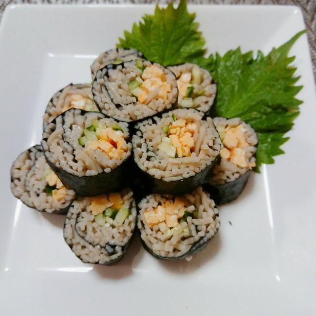 食べたくなって…、蕎麦寿司作ってみましたー✌