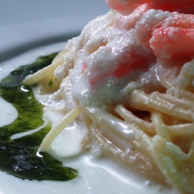 冷製蟹スパゲッティー ヨーグルトチーズソース