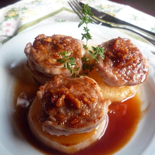 特価のお肉をリッチに♪ 豚肉のロールステーキ