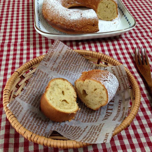 バナナとピーナッツバターのケーキ(エンゼル型18cm)