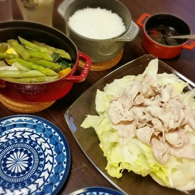 ストウブで【万能ダレで温野菜サラダ】と冷しゃぶ。