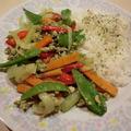 鶏ミンチの野菜炒め