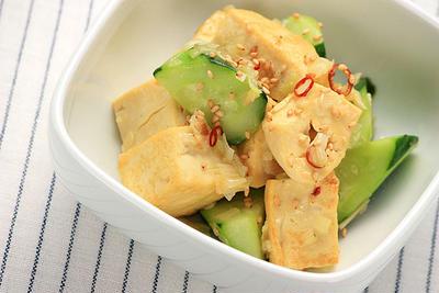 豆腐ときゅうりの塩炒め