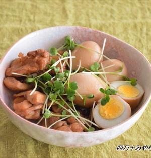 ゆで卵と鶏もも肉のジンジャーぽん酢煮