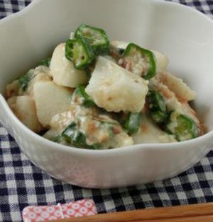 たった5分で簡単なお野菜おつまみ♪長芋とオクラのおかかチーズ和え