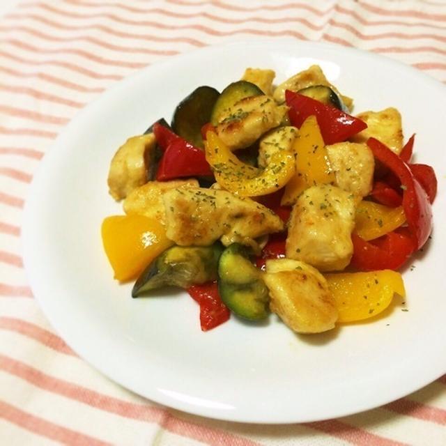 夏野菜とチキンのカレーソテー