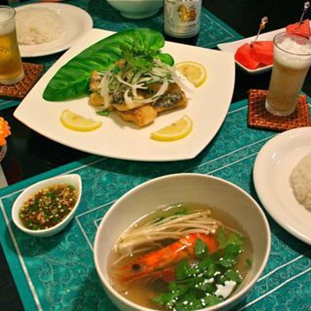 トムヤムクン&揚げ魚の香草ソース