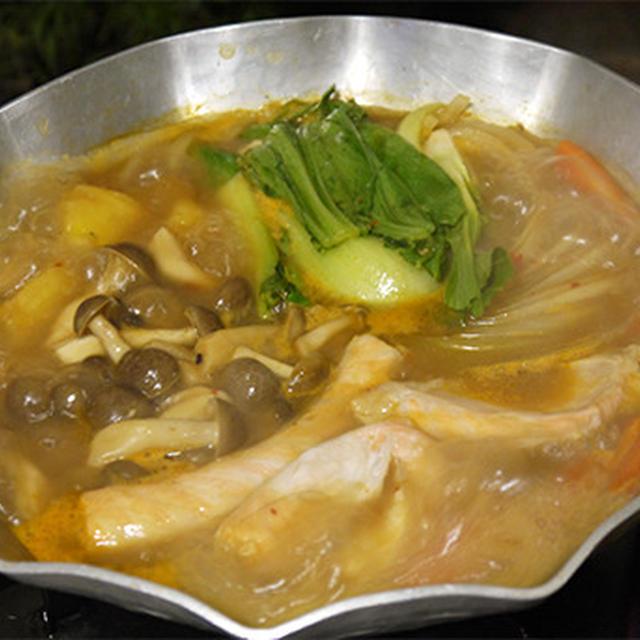 サーモンのアラで味噌味の鍋