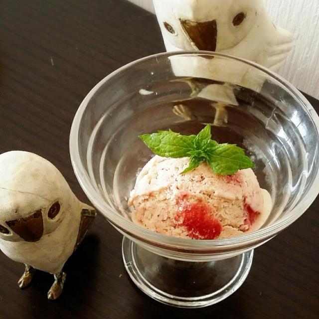 手作り苺アイス+油淋鶏+リメイクソーメン