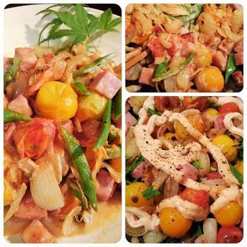 ■簡単5分で美味しい!!【菜園ミニトマト&インゲン&玉葱とベーコンの明太子マヨ炒め】