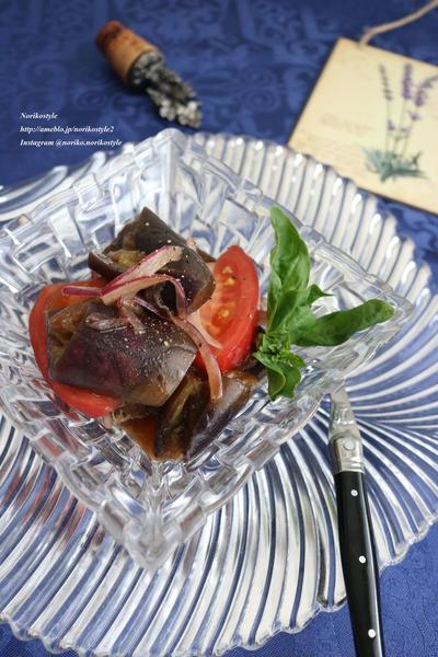 レンジ蒸し茄子とトマトのバルサミコ酢和え<えごま油使用>