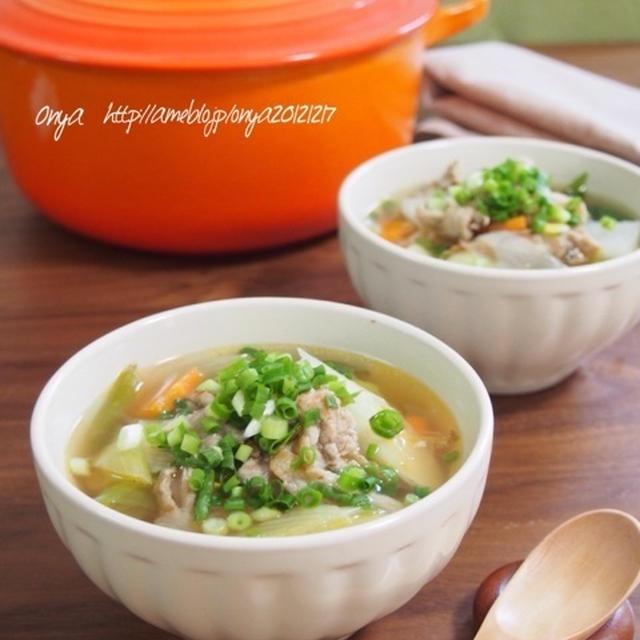 【超簡単!お店みたいな食べるスープ♪豚肉とたっぷり野菜の豚汁風♪】