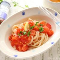 まさに夏味!辛みが旨い!トマトの冷うどん☆【スパイス大使】レンジ調理で暑い今日でも大丈夫!!